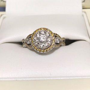 Natural yellow and white diamond ring, 14k